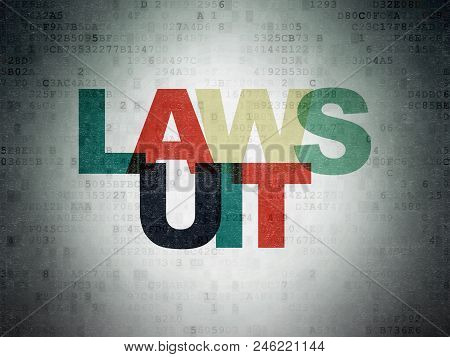 Law Concept: Painted Multicolor Text Lawsuit On Digital Data Paper Background