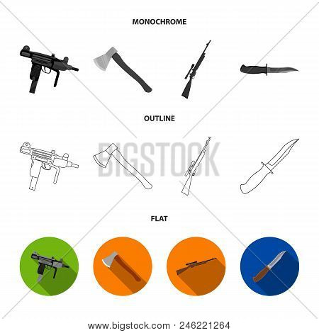 Ax, Automatic, Sniper Rifle, Combat Knife. Weapons Set Collection Icons In Flat, Outline, Monochrome
