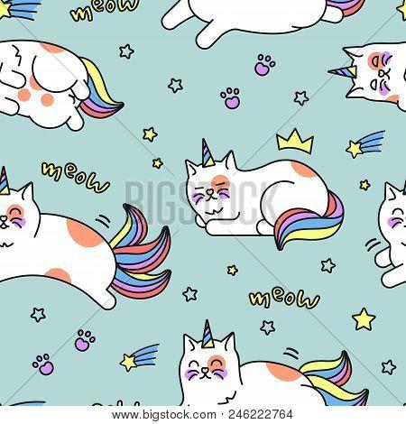 Unicorn Cat Pattern. Cute Rainbow Pattern Design With Lovable, Sweet Fairy Caticorn. Vector Flat Sty