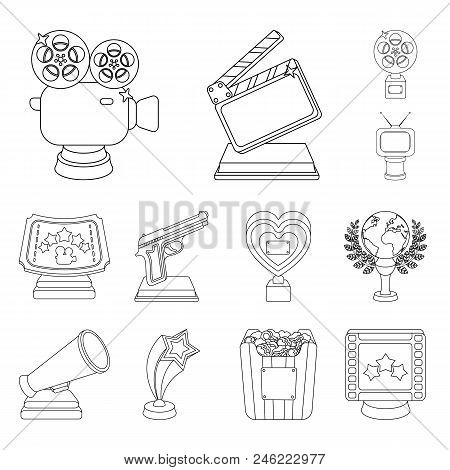 Film Awards And Prizes Outline Icons In Set Collection For Design. The World Film Academy Vector Sym