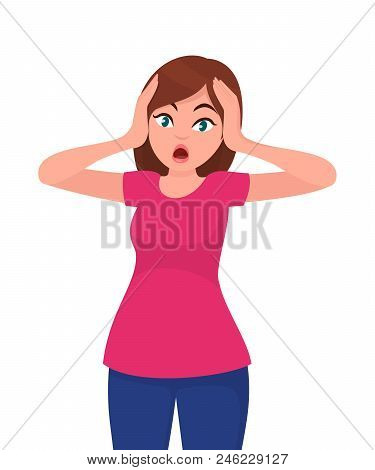 Young Woman Scared Face Expression, Young  Woman Expression With Her Hands On The Head. Cartoon Styl
