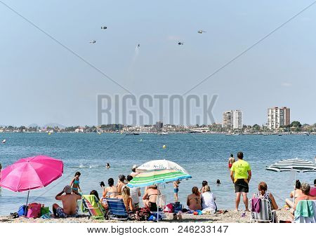 San Javier, Spain - June 10, 2018: San Javier Air Show. It Is One Of The Most Visually Impressive Ev
