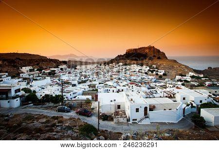 beautiful village of Lindos, Rhodos island, Greece