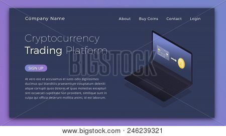 Cryptocurrency Trading. Isometric Illustration Of Buying Cryptocurrency By Credit Card. Cryptocurren