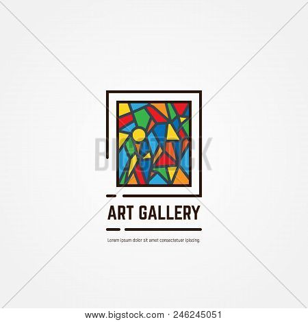 Art Gallery Logo. Color Paintings Emblem With Triangles And Lines. Abstract Picture. Studio Logotype
