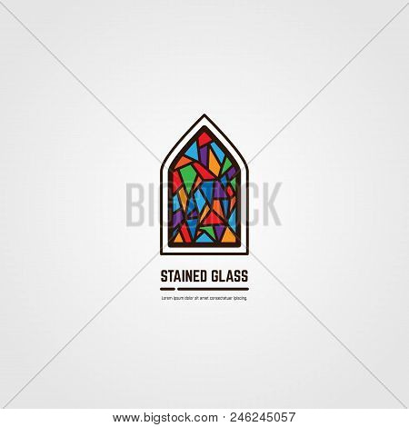 Colorful Stained Glass Window. Logo, Emblem Or Icon With Text. Thick Line Style Flat Style Linear Ve