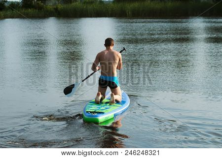 A Man Floats On A Sup Board On The Lake, Rear View, Paddle On The Board, Forest Lake