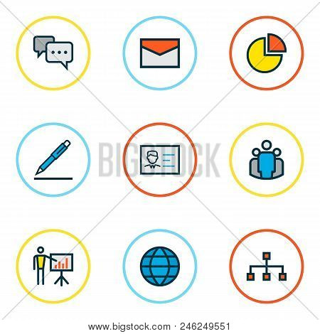 Trade Icons Colored Line Set With Identification Document, Pie Chart, Pen And Other Pencil Elements.
