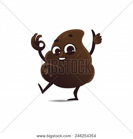 Cheerfu Brown Poop Character With Legs And Arms Running Waving Hands, Thumbs Up Ok Gesture With Happ