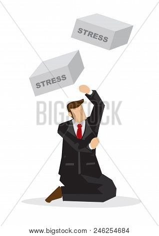 Bricks With A Title Stress Falling Down On Injured Businessman. Concept Of Misfortune, Sabotage Or C