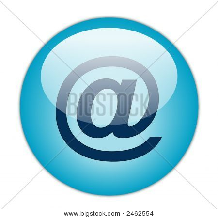 The Glassy Aqua Blue At The Rate Icon Button