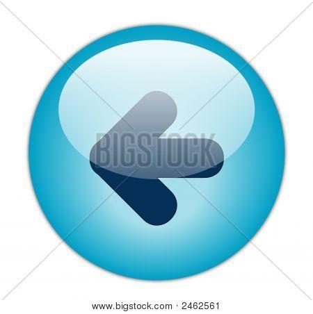 The Glassy Aqua Blue Left Icon Button