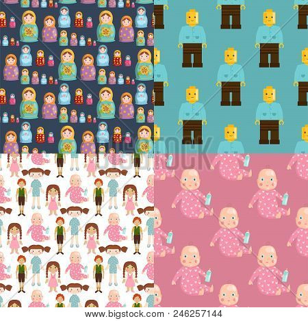 Dolls Toy Character Game Dress And Farm Scarecrow Rag-doll Seamless Pattern Background Vector Illust