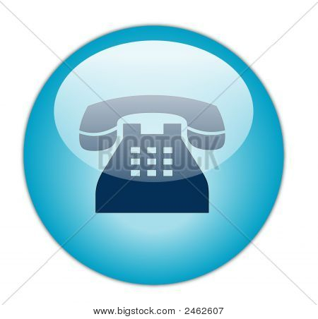 The Glassy Aqua Blue Telephone Icon Button