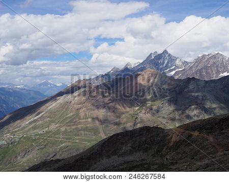 Impressive Geological Alpine Mountains Range Landscapes In Swiss Alps At Switzerland, Rocky Scenery