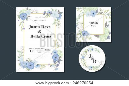 Set Of Card With Flowers Composition. Card Template Background For Sale, Congratulation, Signboard,