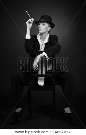 Adult Woman Smoking Cigarette