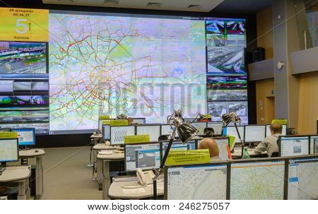 Moscow, Russia - February 9, 2018: Operators work in road traffic control center