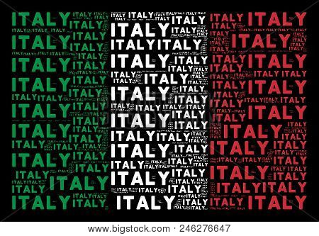 Italy Official Flag Flat Mosaic Organized From Italy Text Items On A Black Background. Vector Italy