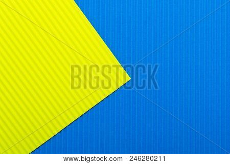 Blue And Yellow Color Paper Texture Background. Trend Colors, Geometric Paper Background. Colorful O