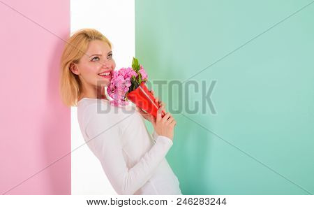Who Is Her Secret Admirer Lady Happy Received Flowers From Secret Admirer. Girl Hold Bouquet Flowers