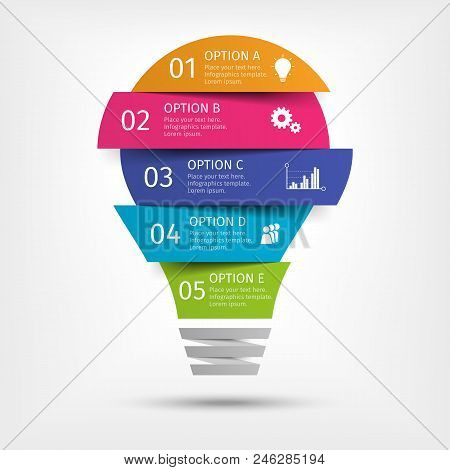 Modern Colorful Light Bulb Infographics. Business Startup Idea Lamp Concept With 5 Options, Parts, S