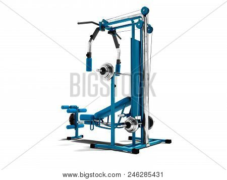 Modern Blue Sports Simulator With Black Inserts For Power Load Of Legs And Hands 3d Render On White