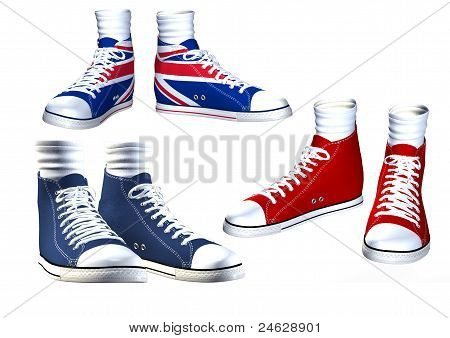 Pairs of isolated sneakers illustration