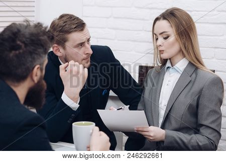 Business Negotiations, Discuss Conditions Of Deal. Man With Beard Drinks Tea While Waiting For Bosse
