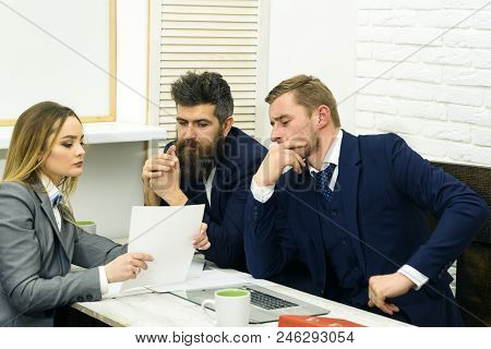 Business Consulting Concept. Business Partners Or Businessmen At Meeting, Office Background. Lady La