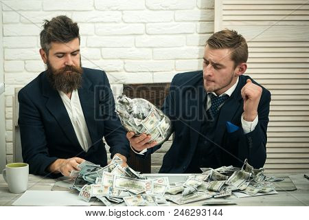 Business Partners, Businessmen At Meeting In Office. Cash Issues Concept. Manager With Beard And Col