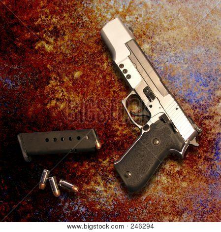 Gun On Rustic Surface