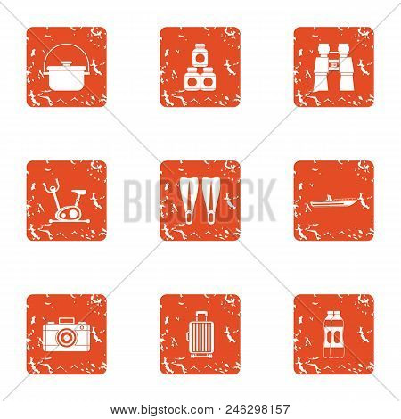 Tourist Itinerary Icons Set. Grunge Set Of 9 Tourist Itinerary Vector Icons For Web Isolated On Whit