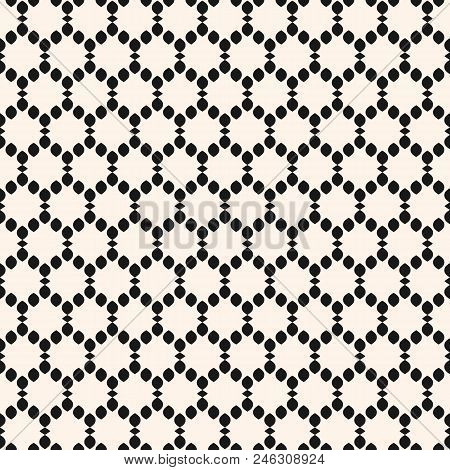 Vector Seamless Pattern. Abstract Graphic Monochrome Background With Small Rounded Shapes In Smooth