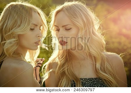 Two Twins. Summer Photo. Women With Blonde Hair And Makeup Outdoor. Girls With Sexy Red Lips, Family