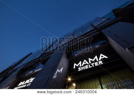 Belgrade, Serbia - June 16, 2018: Logo Of Mama Shelter On Their Newly Opened Hotel In Belgrade. Mama