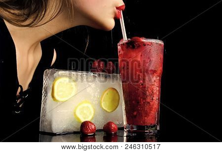 Cocktail menu. Party and summer vacation. Bar and restaurant, lemonade. Thirst and refresh. Cocktail with strawberry for young girl isolated on black. woman drink cocktail with ice cube. poster