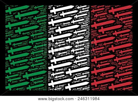 Italy Official Flag Flat Collage Made With Sword Icons On A Black Background. Vector Sword Pictogram