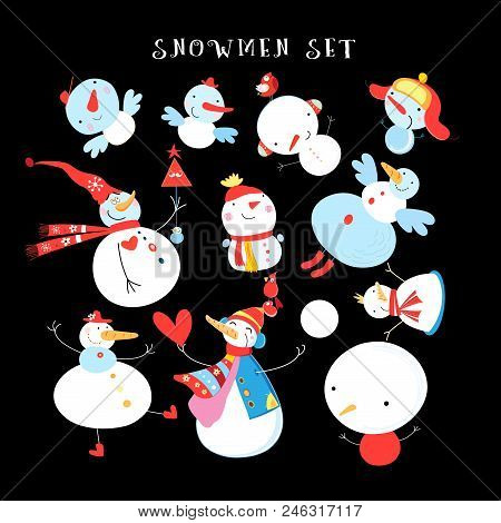 Vector New Year's Winter Set Of Different Snowmen