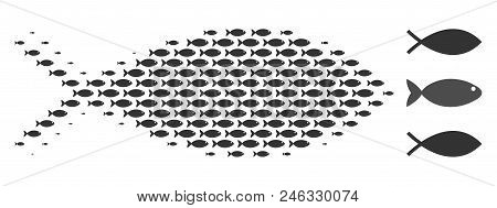 Fish Halftone Collage. Vector Fish Pictograms Are United Into Fish Collage. Seafood Design Concept.