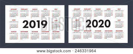 Vector Calendars 2019 And 2020 Years. Basic Minimalistic Design