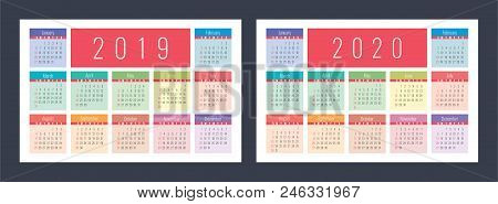 Calendar 2019, 2020. Pocket Colorful Calender Set. Bright And Cute. Week Starts On Sunday. Design Te