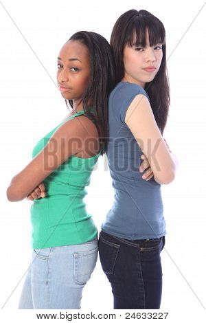 African And Japanese Girls Serious Mean Scowls