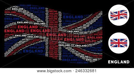 Waving Uk Official Flag Collage Done Of England Word Design Elements. Vector England Word Elements A