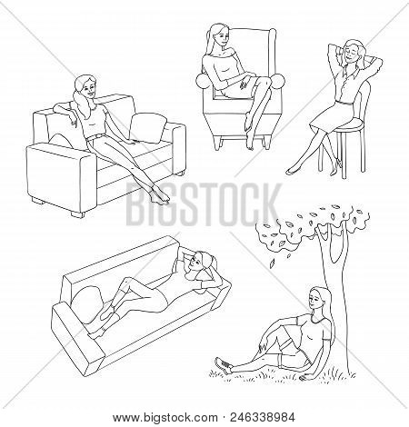 Young Slim Woman Resting Set. Female Characters Lying, Sitting At Sofa, Armchair And Chair, And Unde