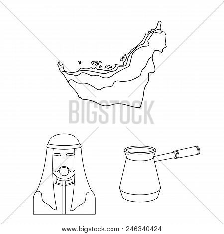 Country United Arab Emirates Outline Icons In Set Collection For Design. Tourism And Attraction Vect