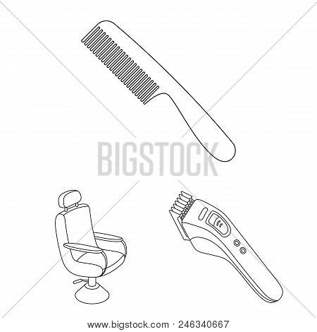 Barbershop And Equipment Outline Icons In Set Collection For Design. Haircut And Shave Vector Symbol