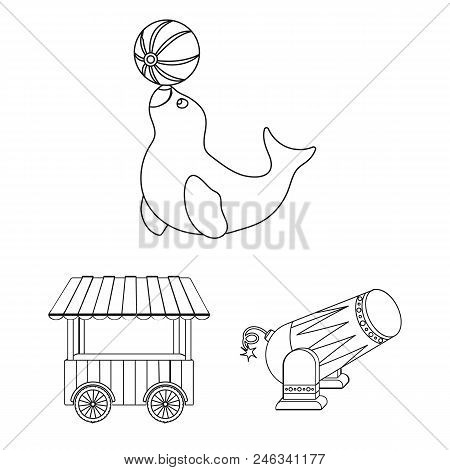 Circus And Attributes Outline Icons In Set Collection For Design. Circus Art Vector Symbol Stock  Il