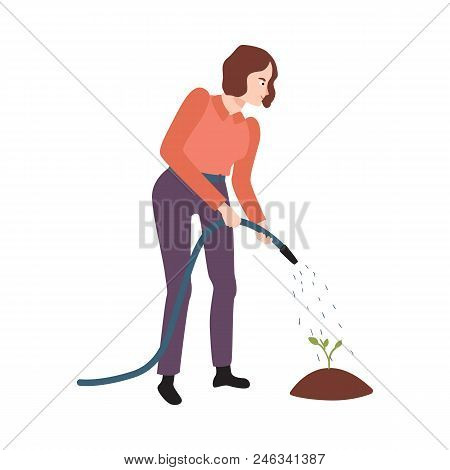 Flat Farmer Woman In Professional Uniform - Rubber Boots, Overalls, Watering Green Sprout In Garden.