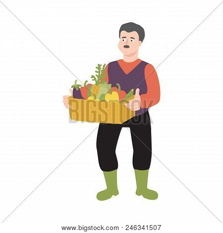 Flat Farmer Man In Professional Uniform - Rubber Boots, Overalls Standing With Harvest Vegetables Bo
